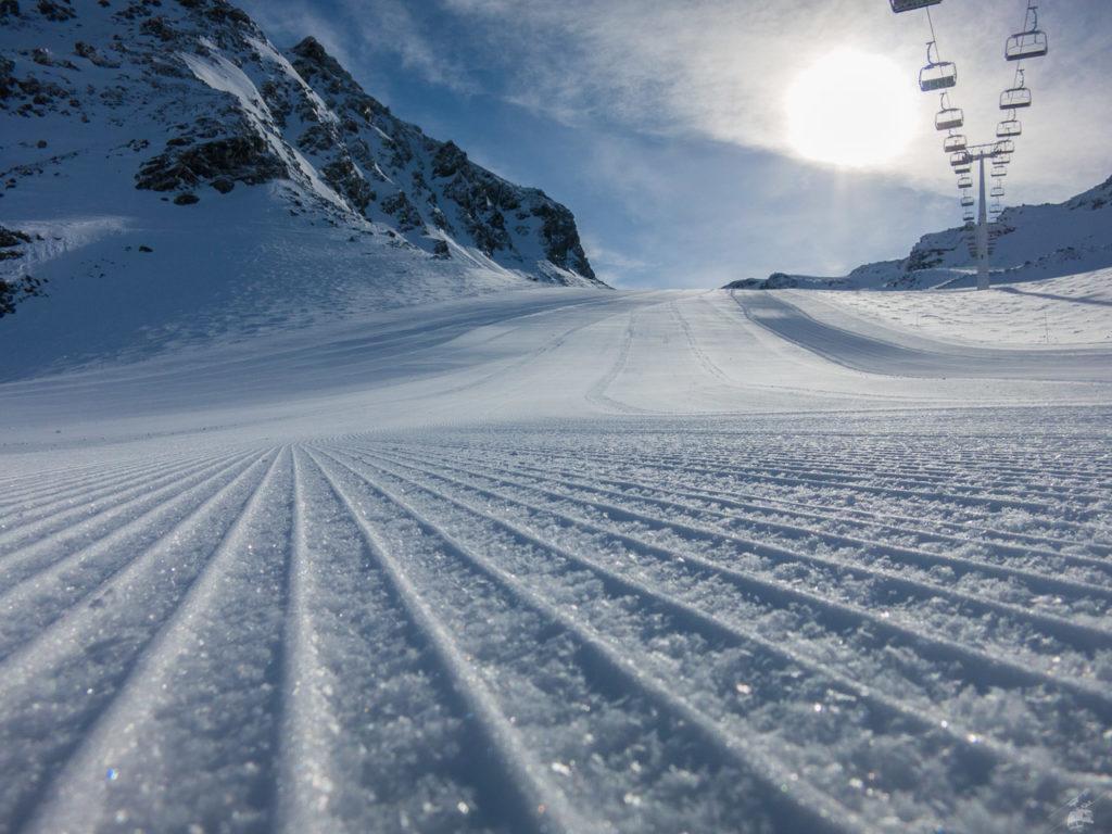 Man kann in Val Thorens jetzt tatsächlich richtig gut präparieren. Ob das was mit den Schneeverhältnissen zu tun hat?